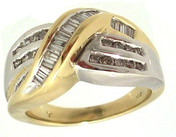 3109: 14KT .50cttw Diamond Baguette Rd 2 tone Ring