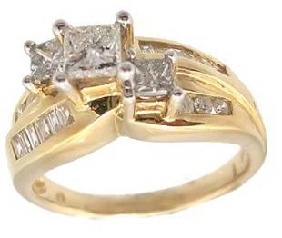 14KY 1.30cttw Diamond Prin Three Stone Wedding Ri