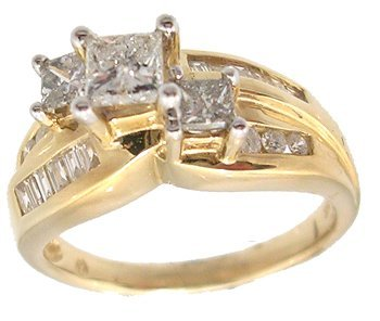 3111: 14KY 1.30cttw Diamond Prin Three Stone Wedding Ri