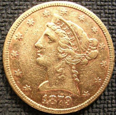 3160: 22KY 1879-P Half Eagle U.S. Gold $5 Liberty Coin