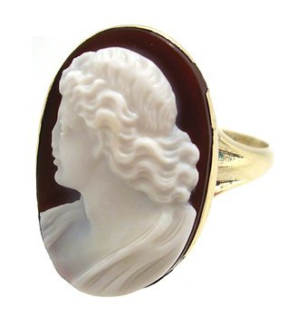 4103: 14KY Cameo Lady Profile Estate Ring