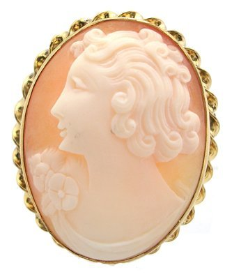 4104: GFilled Cameo Lady Left Brooch Estate