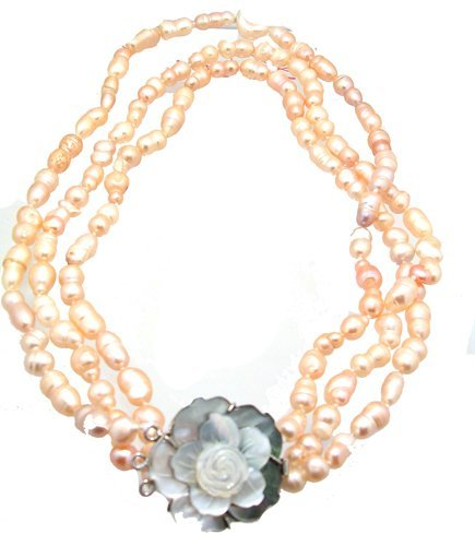 4105: 8-12mm Pink Baroque Pearl MOP flower 3 strand Nec