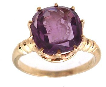 4106: 14KY 2.20ct Amethyst Cameo Rd Ring