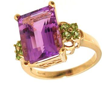4107: 10KY 6ct E-cut Amethyst .48cttw Peridot Cluster R