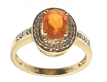 4110: 14KY .63ct Mexican Fire Opal Oval Diamond Pave Ri