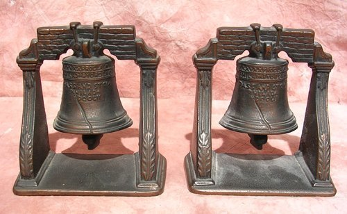 4118: Pair of Bronze Liberty Bell Book Ends
