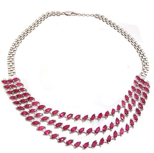 4187: 18KW 22.63ct Ruby Marq 3.9ct Dia Trip Necklace AP