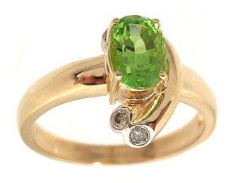 5100: 14KY 1.14ct Peridot Oval Diamond Bezel Designer R