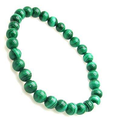 5104: Natural Malachite Bead Bracelet- 6mm