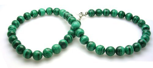 5105: Natural Malachite Bead Necklace Strand 16 inches