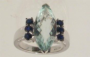 5108: 14KW 5.10ct Aquamarine .35cttw B Saph Topaz Ring