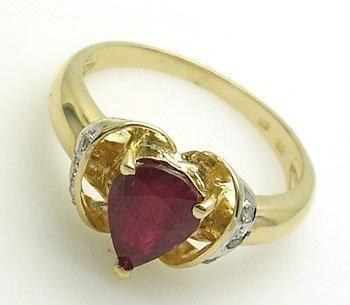 5109: 14KY 1.46ct Ruby Pear .06ctw Diamond Heart Shape