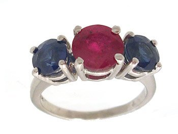 5111: 14KW 1.31ct Ruby Rd 1.45ctw Blue Sapphire Ring