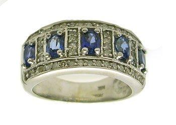 5113: 14KW 2cttw Oval Blue Sapphire .75ct Diamond Ring