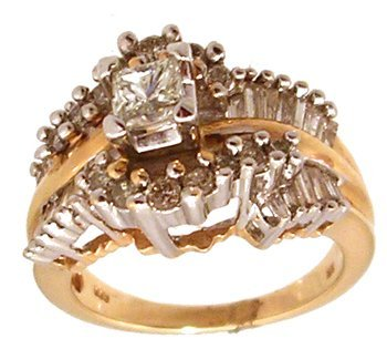 5115: 14KY 1.50cttw Diamond Princess Baguette Rd Ring