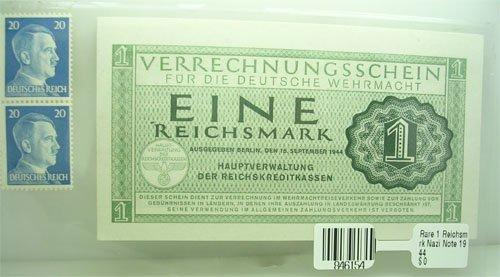 5117: Rare 1 Reichsmark Nazi Note 1944