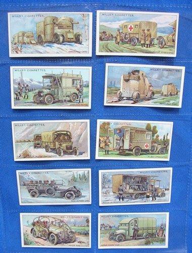 5119: Cigarette cards Military Motors of Great War 1916