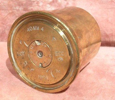 5121: Military 40mm Brass Shell Bottom Case Insert VGC-