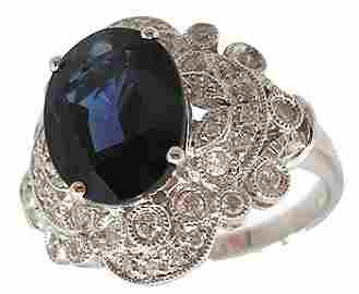 5182: 18KW 3.51ct Oval Blue Saph .37ctw Dia Ring APPR $