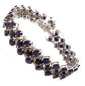 5183: 14KW 22.8ct Blue Sapp 1ct Dia Triple Row Bracelet