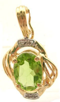 2100: 14KY 1.10ct Peridot Oval Diamond Ribbed Pendant