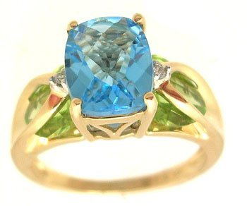 2103: 14KY 2ct Blue Topaz E-cut 2.75ct Peridot Heart Di