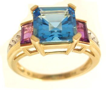 2104: 10KY 2.50ct Blue Topaz 1ct Amethyst E-cut Diamond