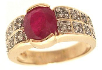 2109: 14KY 2.09ct Ruby Oval Half Bezel .31ct Diamond Ri