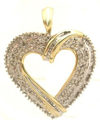 2112: 10KY .43ctw Diamond Bag Rd Heart Pendant