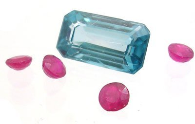 2115: 4.15Cttw.+ Blue Zircon E-Cut Ruby Round Suite