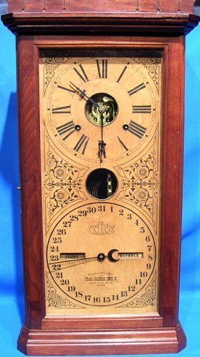2215F: Antique Ithaca Large Double Dial Calendar Clock-