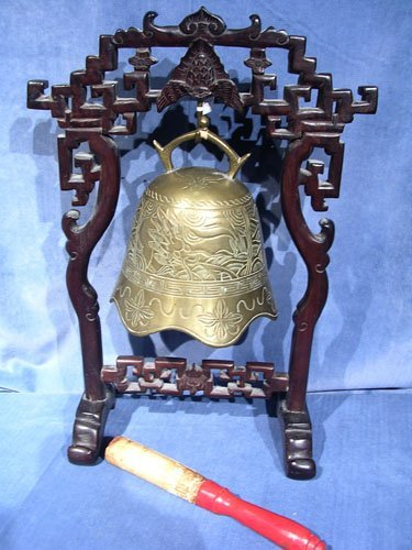 17008: Oriental Etched Brass Bell Gong w/ Handcarved St