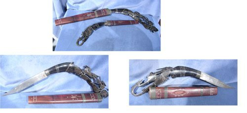 17012: Pair of Indonesian Style Swords w/ Carved Antler