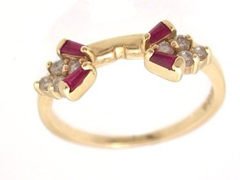 3103: 14KY .12ct Diamond .10ct Ruby bagg wrap ring