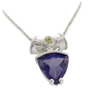 14kwg Trilliant Iolite/ylw Diamond Pendant & chain