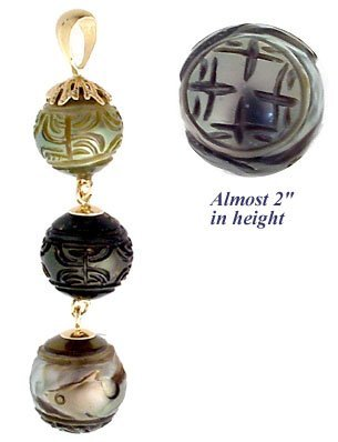 4003: 14K 9/11.5m Tahitian carved 3 Pearl PPF Pend