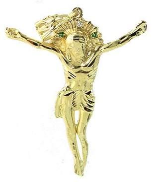 10kt Jesus Crucifix w/ Blue Diamond 2-1/4 pendant
