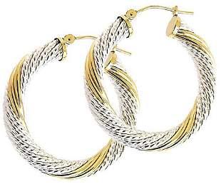 14kt Gold & Sterling Silver Hoop Earrings
