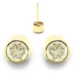 14k .42ct Champaigne Diamond bezel stud earrings