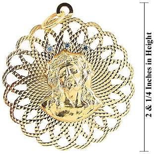 HUGE 14k Teal diamond JESUS medallion pendant