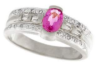 14kwg .65ct Pink Sapphire w/.25 Diamond Ring