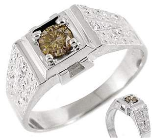 14kwg .42ct Cognac Diamond soliatire mans ring