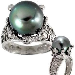 14kt wg 11.5mm Tahitian/Diamond Crown Ring