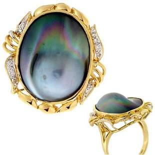 14kt Tahitian Mabé Freeform Pearl/Diamond Ring