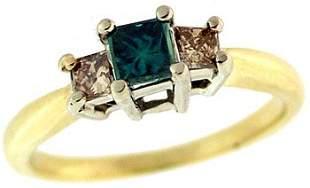 14YG .50ctw Blue & Cognac diamond PPF Ring