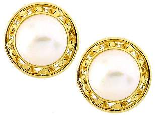 14kt 14mm Mabe Pearl twisted Rope Earrings