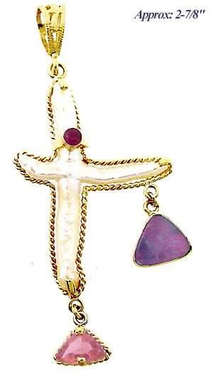 14kt Freeform Pearl Ruby Opal & Rubelite pendant