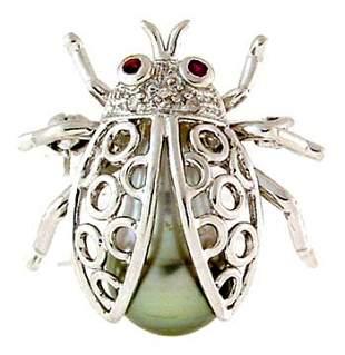 14k wg 9/10mm Tahitian Pearl/Diamond Ladybug Pin
