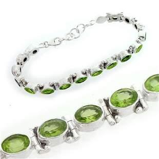 Sterling Silver Peridot bezel oval 7in bracelet